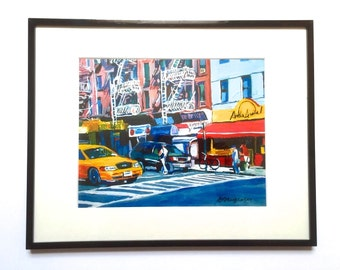 Restaurant Hells Kitchen Cityscape New York Art Framed NYC Print NYC 11x14 black metal Frame Included. Ready to Hang, by Gwen Meyerson