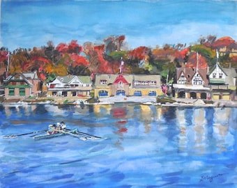 Philadelphia Boathouse Row Watercolor Painting Schuylkill River Print  by Gwen Meyerson