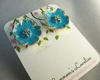 blue enamel flower studs