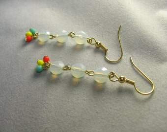 opalite and czech glass darling dangles in gold