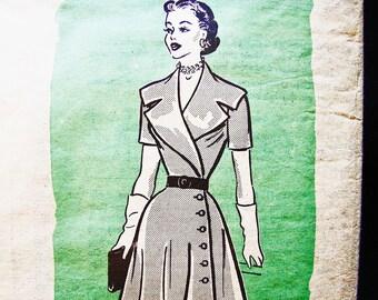 1950s Dress Pattern size 12 Womens Wide Collar Side Button Wrap Dress Flared Skirt Dress Vintage Sewing Pattern