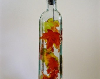 Olive Oil Bottle Autumn Leaves Hand painted Recycled glass