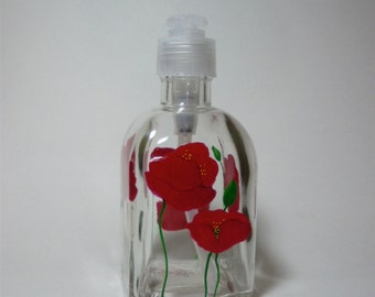 Soap dispenser hand painted with red poppies