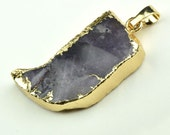 Druzy  pendant Gold Electroplate Necklace Pendant purple   Natural Stone Jewelry Supplies B4004-2