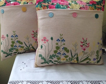Decorative Pillow Repurposed Linen Set of Two