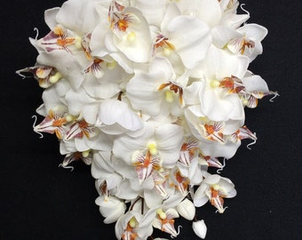 White True-Touch Orchid Cascading Bouquet