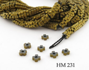 3mm Tiny Matte Gold Hematite Flower Heishi Beads Small 3mm x 1mm Full Strand (HM 231) BlueEchoBeads