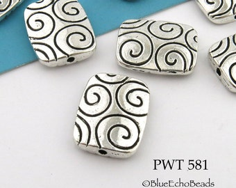 Large Rectangle pewter Bead with Spirals 16mm (PWT 581) 6 pcs BlueEchoBeads