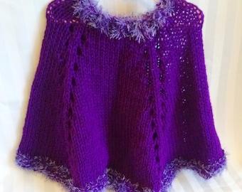 READY TO SHIP. Little Girl Poncho. Knit Poncho. Violet. Dark Lavender. Purple.  Light Purple Eyelash Yarn. Knit Cape. Chilly Weather Poncho.