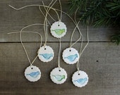 Set of six blue bird ornaments, gift wrapping ceramic tags, flower shape hand stamped tags,Christmas gift decor, hostess gift