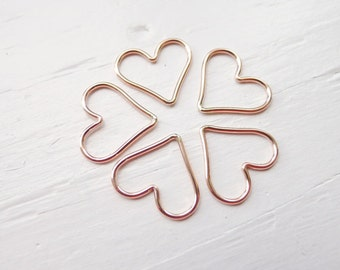 Rose Gold Filled Open Heart Charm Pendant Wire Hearts (LHGFR540)