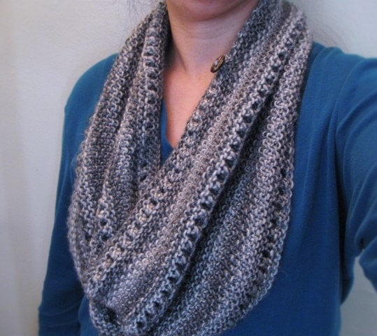 Long or Short Versatile knit cowl, PDF knitting pattern for cowl, seed stitch...
