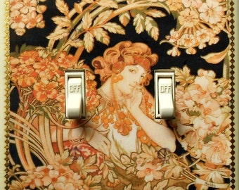 MATCHING SCREWS on 4 CHOICES- Mucha double switchplates Mucha light switch covers Mucha Job art prints Mucha wall decor Mucha switch plates