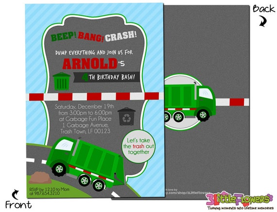 Garbage truck invitations personalized photo invitations 5 x 7 il570xn filmwisefo Image collections