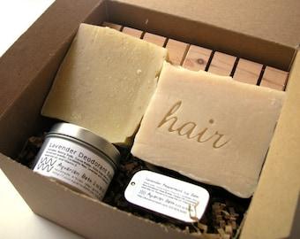 Mix and Match Aquarian Bath Set with you choice of Soap, Shampoo, Deodorant, and Lip Balm - Plastic free