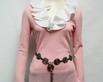 1960s mod pink top / 60s mod blouse / swinging sixties long sleeve/ pink frilled top