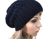 Hand knit hat - Oversized Chunky Wool Hat, slouchy hat in black