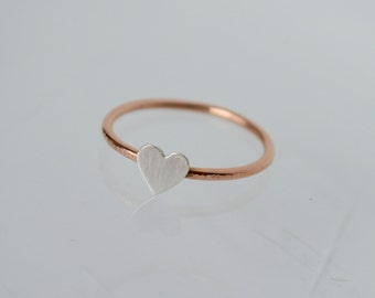Heart Ring, Rose Gold Ring, Tiny Heart Ring, Silver Ring, Silver Heart, Gift for Girlfriend, Rose Gold, Tiny Heart Jewelry. Heart Jewelry
