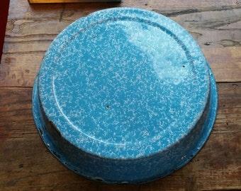 Vintage Blue and White Graniteware Bowl