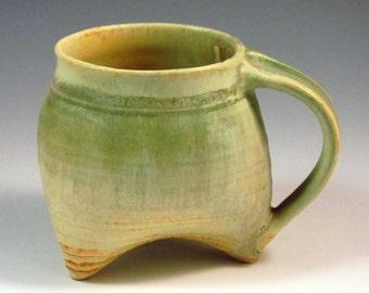 Handmade Stoneware Tripod Mug with Ash Glaze