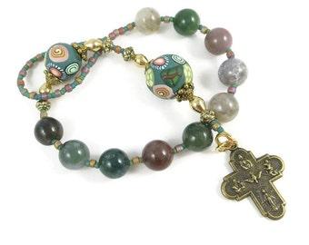 Fancy Jasper Catholic Men's One Decade Rosary Chaplet Handmade Prayer Beads Pewter Crucifix Everything Else Religious Under 25 Dollars
