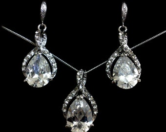 Cz Bridal Jewelry Set, Infinity Bridal Earrings, Twirl Wedding Necklace, Swarovski Earrings, Crystal Necklace, Wedding Jewelry, TWIRL