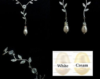 TWIGS Bridal Jewelry Set, Leaves Wedding Earrings, Vines Bridal Necklace, Branches Wedding Bracelet, Cz Pearl Wedding Jewelry
