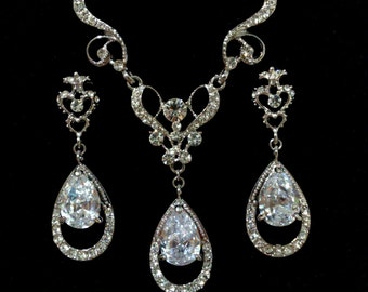 Bridal Jewelry Set, Vintage Victorian Wedding Earrings, Teardrop Bridal Necklace, Cz Bridal Earrings, Crystal Wedding Jewelry, HELENA