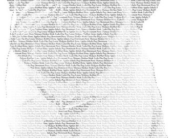 Unique gift made of image and words: Personalized custom Pet Portrait filled with type