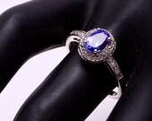 Vintage Gemstone Ring - Sterling Genuine Diamond & Tanzanite Ring - sz. 7 1/2