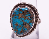 Spiderweb Turquoise Ring - Sterling Navajo - Dead Pawn - Signed - sz 5 1/2