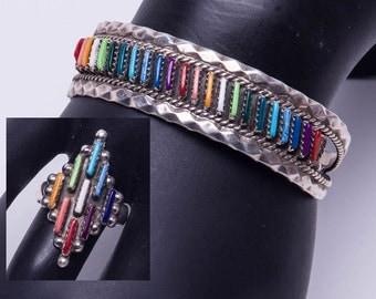 Zuni Multi Stone Rainbow Bracelet & Ring - Sterling Needlepoint Signed - Ring size 8 1/2