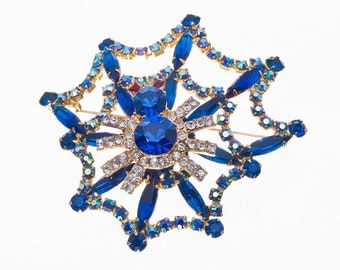 Big Spider & Web 3D Figural Brooch Pin -  Rhinestones