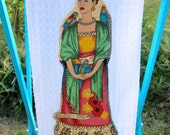 FRIDA'S Garden Ruffled Mexican Kitchen TOWEL Frida Kahlo and Parakeets