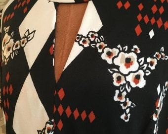Vintage 70s Maxi Dress V Keyhole Neck Barnsville Label M/L