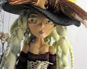 WITCH SUZIE, ball jointed paper clay sculpted art doll, handmade in the USA