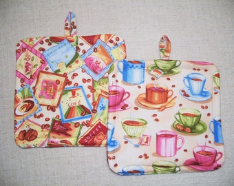 Pot Holders for Coffee and Tea Lovers - Set of 2 - Insulated Hot Pads - Trivets - Brown, Coffee Cups, Tea Bags
