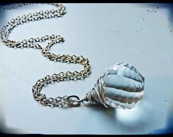 Faceted Swarovski Prism Necklace in Silver