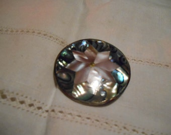Vintage Mother of Pearl on Abalone Alpaca Silver Floral Brooch Pin Pendant