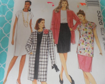 McCalls 5326 Misses Wardrobe Pattern Dress, Coat, Jacket, Top, and Tunic Sizes 40-42-44