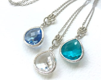 Crystal Clear - Tear Drop - Crystal Glass Silver Long Necklace
