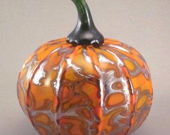 Handblown Glass Pumpkin by Tazza Glass