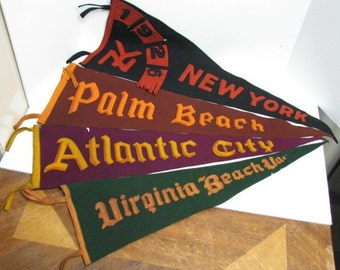 4 Pennants 1900-1920s New York, Atlantic City, Virginia Beach, Palm Beach, Applique Sewn Lettering