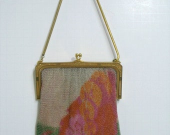 Vintage Whiting & Davis Mesh Purse Watercolor Mountain Trees Abstract Scene Scenic Art Deco