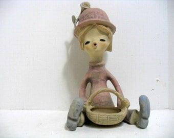 "Vintage Uctci Large Boy w/ Basket Japan Stoneware Hippie Figure Danish Modern Sculpture 12"" Tall"
