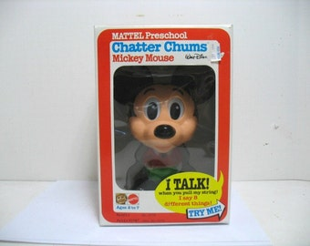 Vintage Mickey Mouse Chatter Chums Mattel Talking Pull String Toy in Original Box MIB NOS