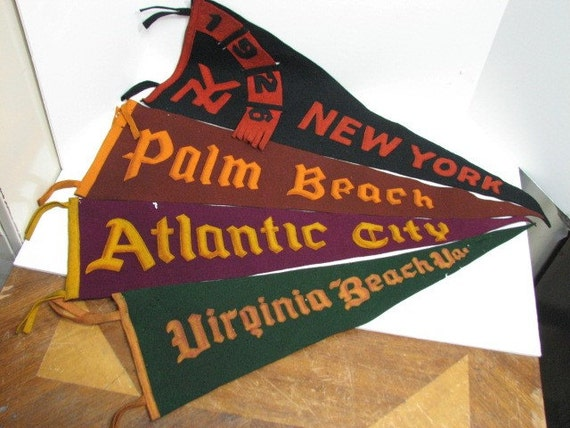 4 Antique Pennants from 1900-1920s, New York, Atlantic City, Virginia Beach, Palm Beach, Applique Sewn Lettering