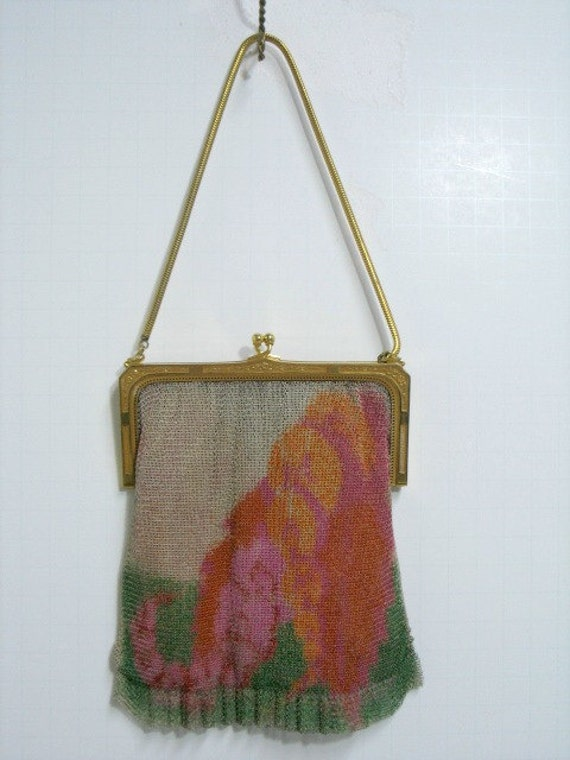 Vintage Whiting & Davis Mesh Purse, Art Deco Vintage Mesh Bag Handbag with Watercolor Mountain Trees Abstract Scene