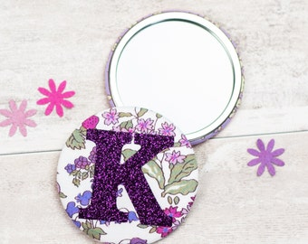 Initial Mirror - Liberty of London fabric - floral mirror - personalised gift -  mothers day gift - wedding favour - glitter letter mirror