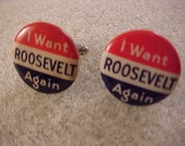 Cuff Links FDR Franklin Roosevelt Vintage Campaign Buttons - Free Shipping to USA